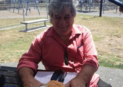 Koko enjoying a burger cooked by our rangatahi